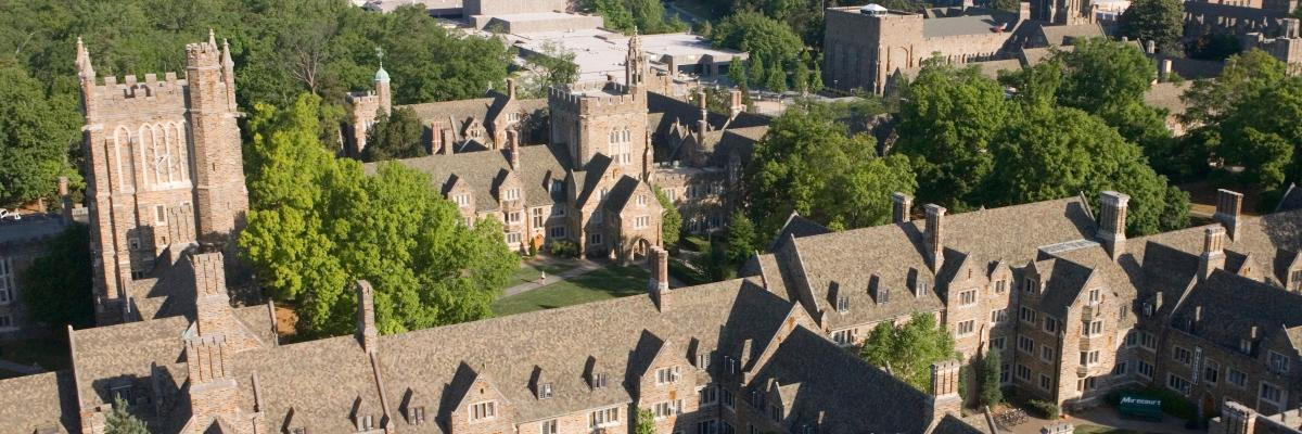 Aerial photograph of Duke's West Campus